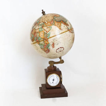 Vintage Replogle World Globe, Weather Station Thermometer Barometer Gauges, Wood Base, Made in USA and France