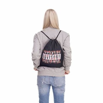 Parental Advisory Explicit Content Roses Floral Black Drawstring Bag Backpack