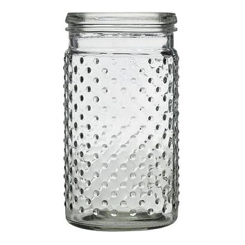 "Glass Hobnail Jar in Clear - 7.5"" Tall x 3.5"" Wide"