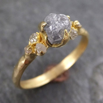18k Raw Diamond Engagement Ring Rough Gold Wedding Ring diamond Wedding  Ring Rough Diamond Ring byAngeline