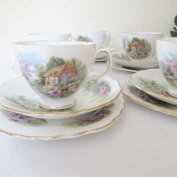 Royal Vale vintage 1960's Cottage garden tea trio