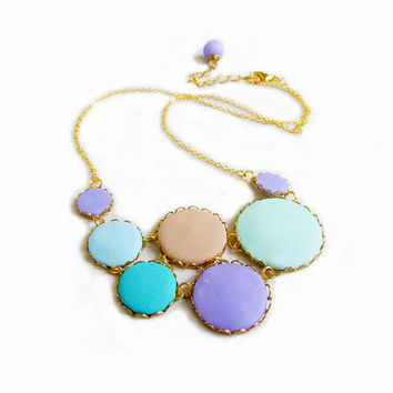 Pastel Bubbles Statement Necklace in Mint, Blue, Purple, Tan - Color Dot Collection - Handmade Polymer Clay Statement Necklace