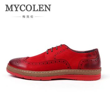 MYCOLEN Mans England Brogue Style Black Casual Shoes Flat Platform Lace-Up Top Quality Heighten Carving Red Bottom Shoes Men