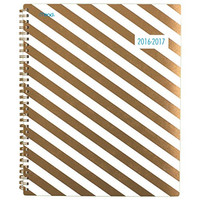 """Mead Academic Year Weekly / Monthly Planner / Appointment Book, July 2016 - June 2017, 8-1/2""""x 11 """", School, Gold Stripes Design (38132)"""