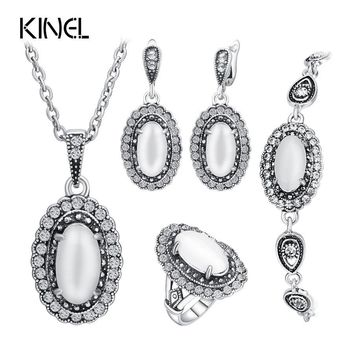 Vintage Wedding Jewelry Set Color Ancient Silver 4Pcs/Sets White Opal Ring/Necklace/Bracelet And Earring For Women Valenti
