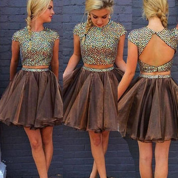 Homecoming Dress,  Two-Piece Beading Short Prom Dress, Cute Homecoming Dress