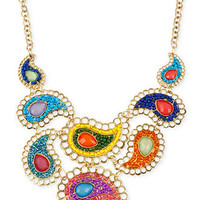 Haskell Necklace, Antique Gold-Tone Multi-Color Paisley Frontal Necklace - All Fashion Jewelry - Jewelry & Watches - Macy's