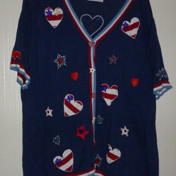 Women's Blue Storybook Knits 4th Of July Patriotic Hearts Sweater