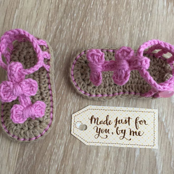 Crochet Baby Girl Sandals - Free Barefoot Sandals - Baby Shower Gift