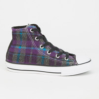 Converse Chuck Taylor All Star Plaid Hi Girls Shoes Purple  In Sizes