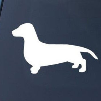 DACHSHUND SMOOTH SILHOUETTE - Dog - Decal Sticker CMI125 | Vinyl Color: White
