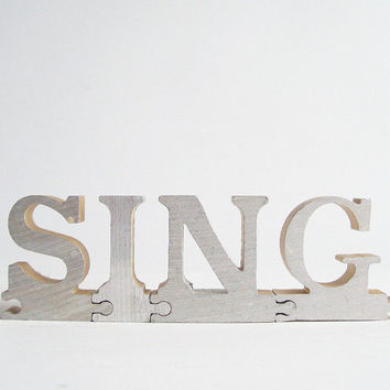 vintage sing puzzle pieces metal letters word home decor sign positive message text type font silver retro home decor