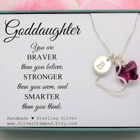 Gift for Goddaughter necklace All sterling silver initial heart Swarovski butterfly, God daughter 16th birthday graduation confirmation gift