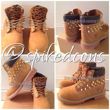 Spiked timberlands youth sizes 12.5c to 3y cheetah/leopard