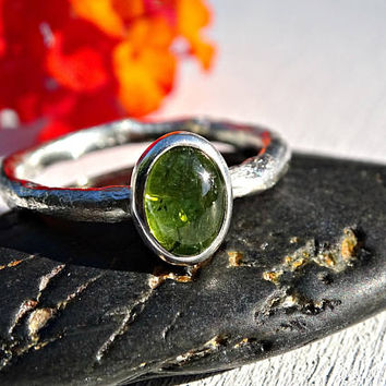 silver tourmaline ring, tourmaline engagement ring, organic promise ring, green tourmaline ring, silver twig ring, unique gift for her