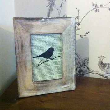 Framed bird printed on vintage book paper with by ArtbyJennieUK