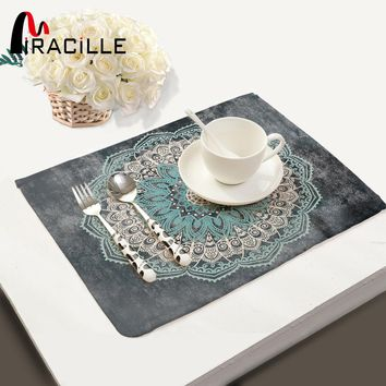 Miracille Mandalas Pattern Fashion Table Placemats for Table Set Cotton Linen Home Accessories Kitchen Pad Coffee Tea Place Mats