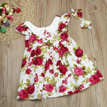 Kids baby girls dress summer Toddler Kids Girl Princess Dress with Headband Ruffle Party Floral Dress Clothes vestito bimba