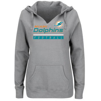 Women's Miami Dolphins Majestic Heather Gray Self-Determination Pullover Hoodie