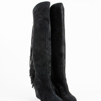 CREYU2C Black Suede Fringe Pouliche 70 Knee High Wedge Boots