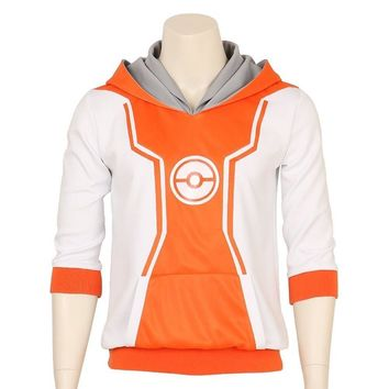 Pocket Monster Trainer Orange Hoodie Hooded Jacket Sweater Suit  Go logo Team Cosplay Costume Male Female S-XXLKawaii Pokemon go  AT_89_9