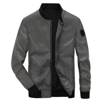 Faux leather jacket men fashion design bomber motorcycle men leather jacket high street punk style AFS JEEP jacket coat male 4XL