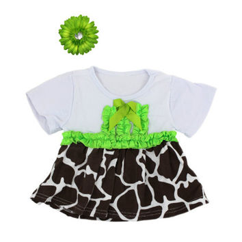 Giraffe Print Tee, Lime Flower Clip, White Brown Giraffe Print and Lime Tee, Zoo Outfit, Flower Hair Clip, Giraffe Outfit, Baby Girls Clothe