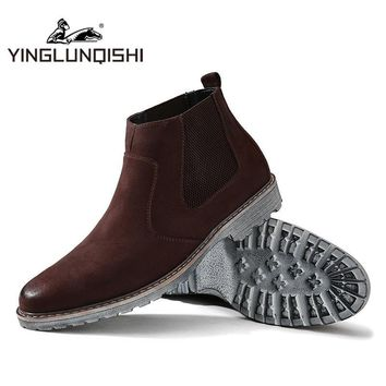 YINGLUNQISHI Men Boots Winter 2016 Suede Leather Slip On Ankle Boots Men Vintage Chels