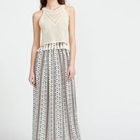Ornate Print Wide Waistband Maxi Skirt | MakeMeChic.COM