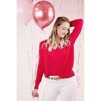 Andie V Neck Sweater, Fuchsia Pink