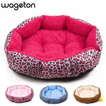 NEW! Colorful Leopard Print Dog Bed  | Pink, Blue, Yellowish Brown, Deep Pink | SIZE: M or L