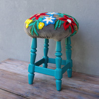 Butterfly and Flowers Pouf Embroidered Stool Ottoman Pouf Boho Style Wooden Furniture Vintage Embroidery