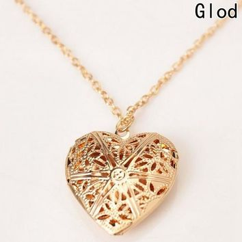 Hollow Love Heart  Locket Necklace Pendant 2 Colors Openable Vintage Gift For Lover