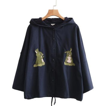 Japanese Spring Rabbit Embroidery Cotton Linen Thin Hooded Jacket Women Cute Loose Three Quarter Sleeves Sunscreen Jackets V244
