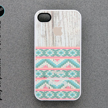 iphone 4 Case - iphone 4 cover - plastic or silicone rubber - geometric pattern on wood