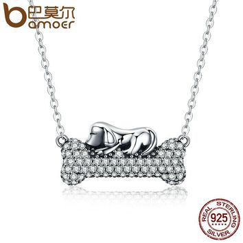 Authentic 925 Sterling Silver Dog Doggy's Dream with Bone Pendant Necklaces Women Clear CZ Fine Jewelry Brincos SCN092