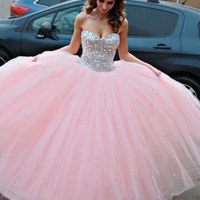 Vestido de Debutante Pink Ball Gown with Crystals Prom Dresses Evening Dress Occasion Gowns Party Gowns