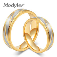 New Fashion Men and Women Wedding Rings Gold-Color Rings Stainless Steel Couple Wedding Rings for Men and Women