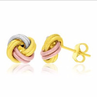 Textured Love Knot Earrings in 14K Tri-Color Gold