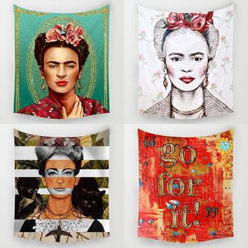 DecorUhome Nordic Frida Kahlo Walking Dead Wall Decorations Beach Towels Home Decor Hanging Living Hippie Printing Wall Tapestry