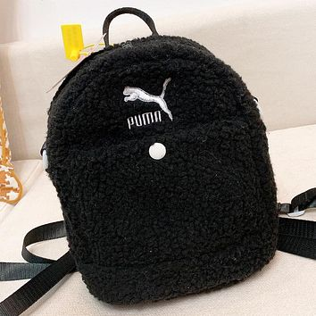 PUMA New fashion embroidery letter artificial plush book backpack bag Black