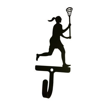 Wrought Iron Female Lacrosse Decorative Wall Hook Small