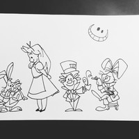 ALICE IN WONDERLAND original character illustration - Disney Alice in Wonderland mad hatter cheshire cat movie character drawing pen and ink