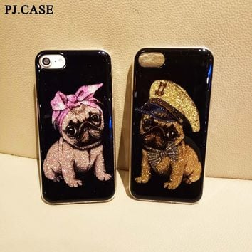 Cute Cartoon Lover Glitter Pug Dog Funda Hard Back Cover Capa Para Carcasa Coque Hull For iPhone 6 6s Plus 7 Plus 8 8 Plus Case