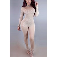 Apricot Sexy Bodysuit with Crystals