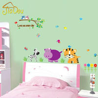 Free Shipping:Zebra Tiger Animals Nursery Wall Sticker Wall Decals Removable Wall poster Dropshipping 160*85/63''*34in