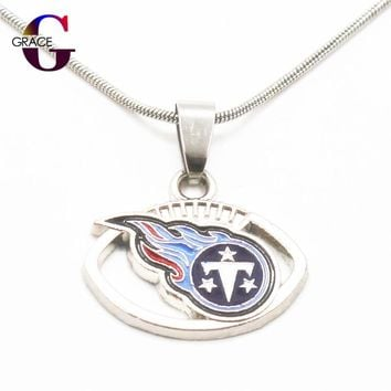 Fashion Tennessee Titans Team Charms Football Sports Pendant Necklace With Snake Chain(45+5cm) Necklace For Women DIY Jewelry
