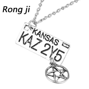 New Fashion Supernatural Dean License Pentagram Plate Pendant Collier Zinc Alloy Vintage Necklace For fans Souvenir Gifts