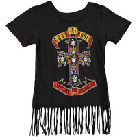 Guns N Roses Women's  GNR Cross Fringe Top Girls Jr Fringe Top Grey