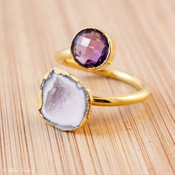 SALE Gold Purple Amethyst And Raw Geode Druzy Ring - Double Gemstone Ring - Adjustable Ring
